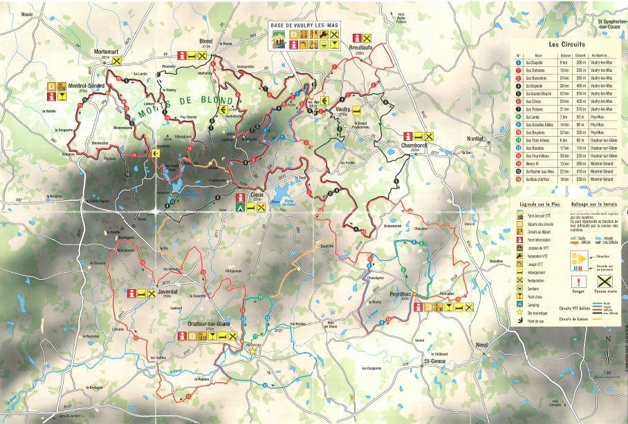 Carte de l'espace VTT des Monts de Blond